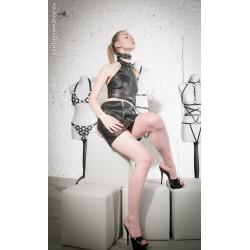 "Leather mini skirt open back BDSM ""Kinky Domme"""