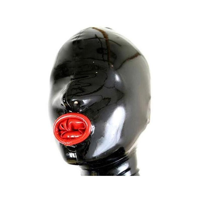 Lateksowa maska bez oczu z wkładką w ustach fetysz BDSM