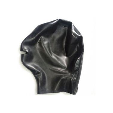 Latex mask hood with perforated eyes and open mouth fetish BDSM