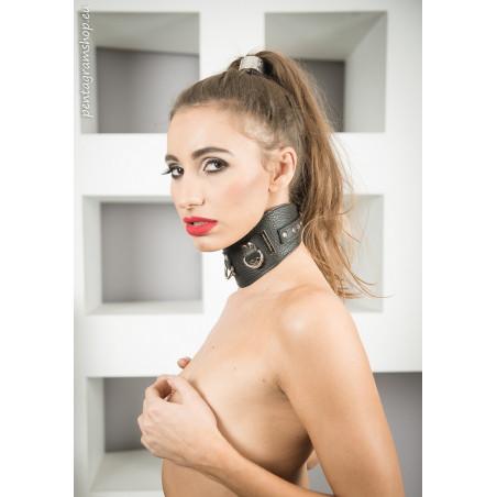 """Skórzana obroża profilowana BDSM """"Raped"""""""