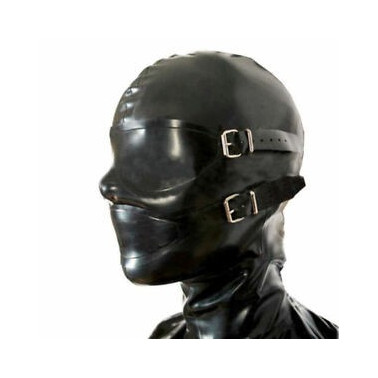 Latex mask hood with blind covers fetish BDSM