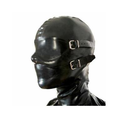 Maska lateks dwie dopinki oczy i usta fetysz BDSM