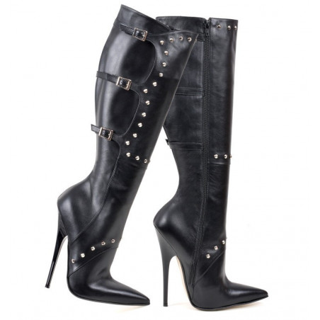 Italian leather boots with decorative pattern 35-47 EU