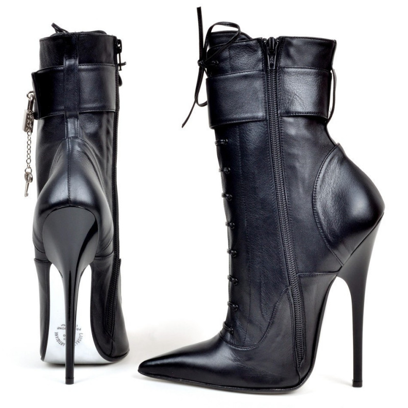 Fetish Italian ankle boots with lacing 35-46 EU