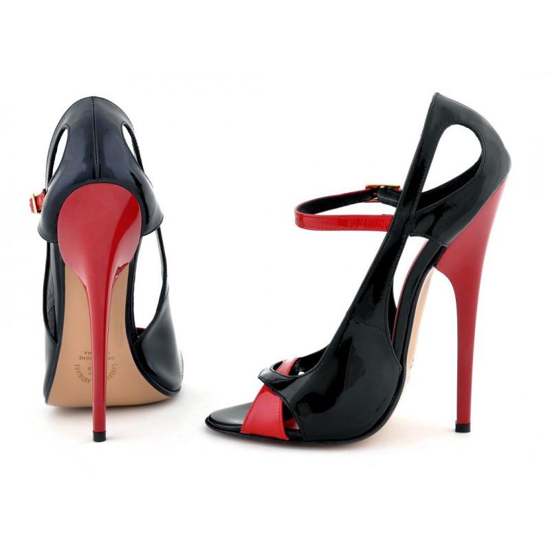 Czarno czerwone unisex sandłay fetysz 35-46 EU
