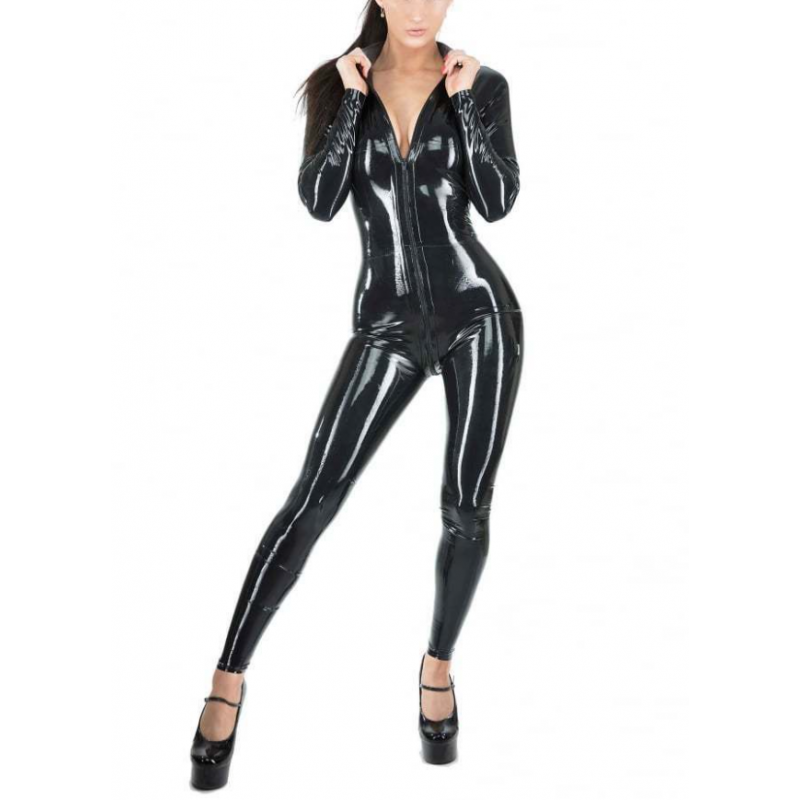 Latex catsuit with front zipper classic cut fetish BDSM