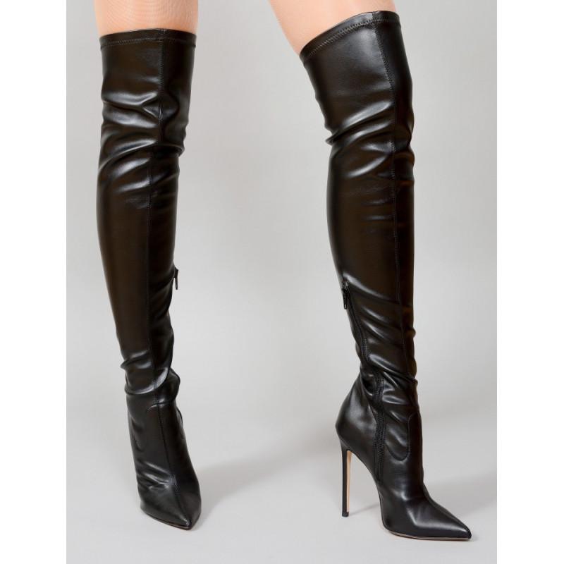 Italian leather stretch sexy boots 35-47 EU