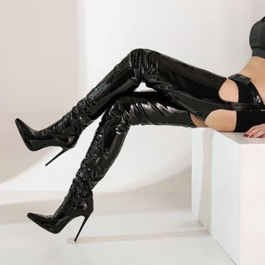 Trans Crossdress over knee boots with waist belt 35-46 EU