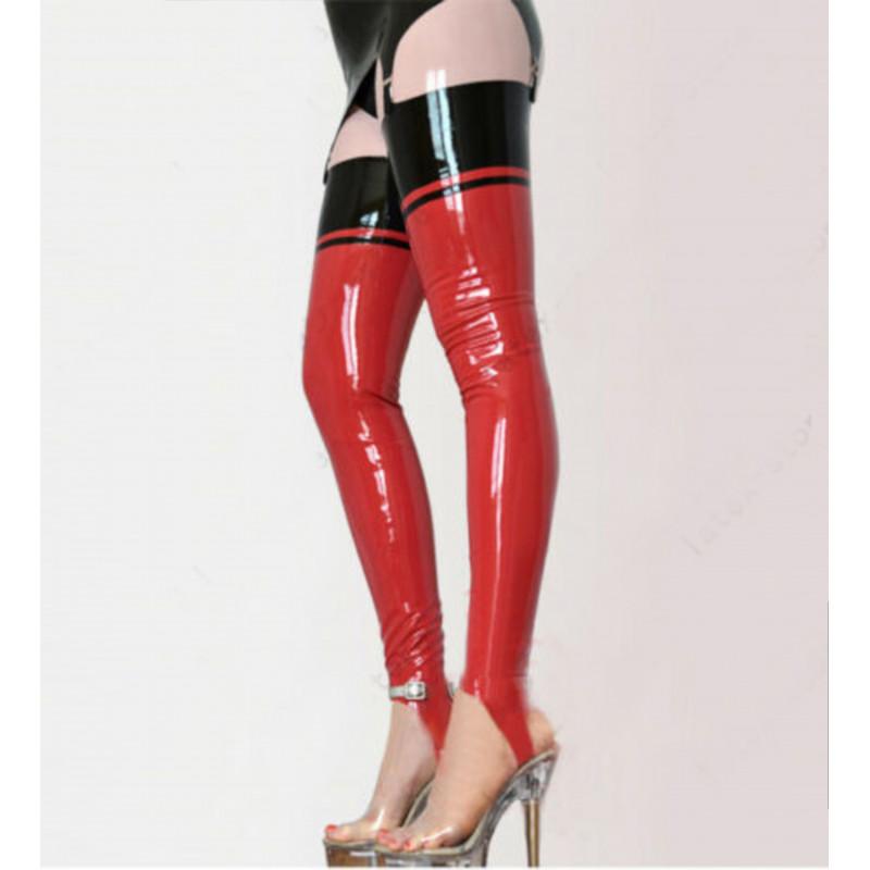 Lateks pończochy długie unisex paski pod stopy fetysz BDSM