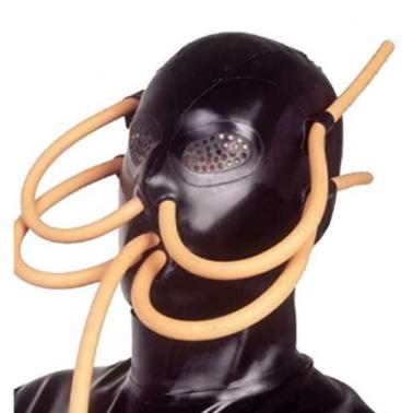 Fetisch Latexmaske mit äußeren Röhren