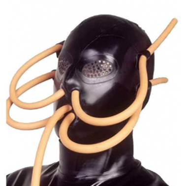 Maska lateksowa oczy usta z rurkami fetysz BDSM
