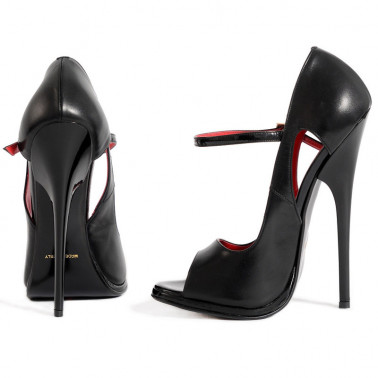 """Fetish black sandals high heels """"open toe"""" 35-46 EU"""