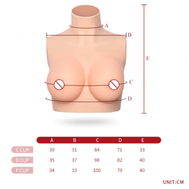 Foam latex silicone Drag Queen artificial chest bust top fetish