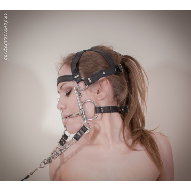 "Kopfgeschirr mit dem Stahlzaumzeug BDSM ""Pony"""