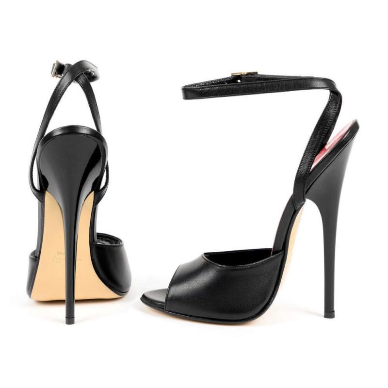 Drapieżne włoskie wysokie skórzane sandały unisex