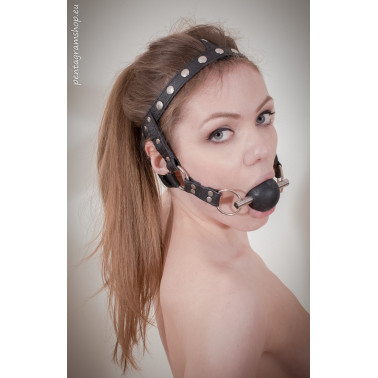 """Fetish leather face harness gag ball """"Be Quiet"""""""