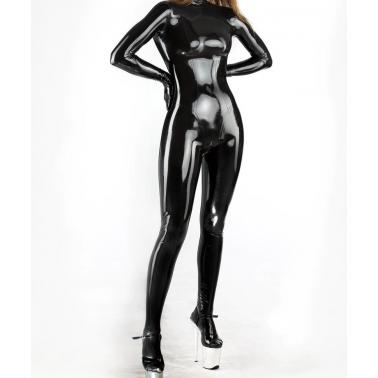 Kombinezon lateks catsuit unisex ze stopami i rękawicami fetysz BDSM
