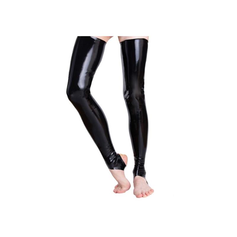 Lateks pończochy getry długie unisex paski pod stopy fetysz BDSM