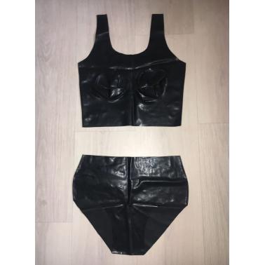 Lateks zestaw bielizny top i majtki fetysz BDSM