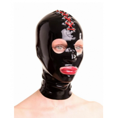 Latex mask hood with red lacing fetish BDSM