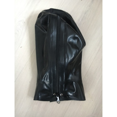 Latex mask hood open eyes and mouth with red tube fetish BDSM