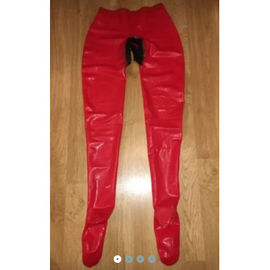 Latex unisex leggings trousers with open crotch fetish BDSM