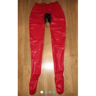 Spodnie legginsy lateks unisex z krocznym wcięciem fetysz BDSM