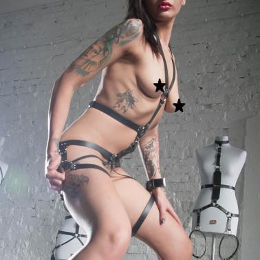 "Fetish leather harness BDSM ""Crossed"""