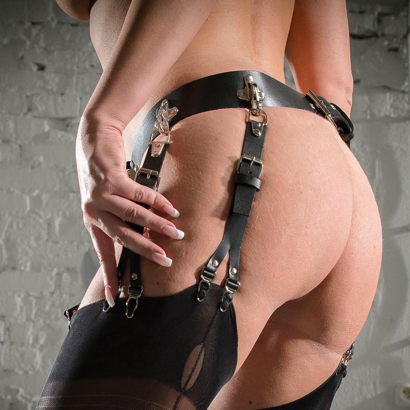 """Garter leather belt fetish BDSM """" V Fetish Locks"""""""