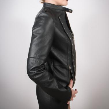 "Leather unisex jacket military style ""Dark army"""