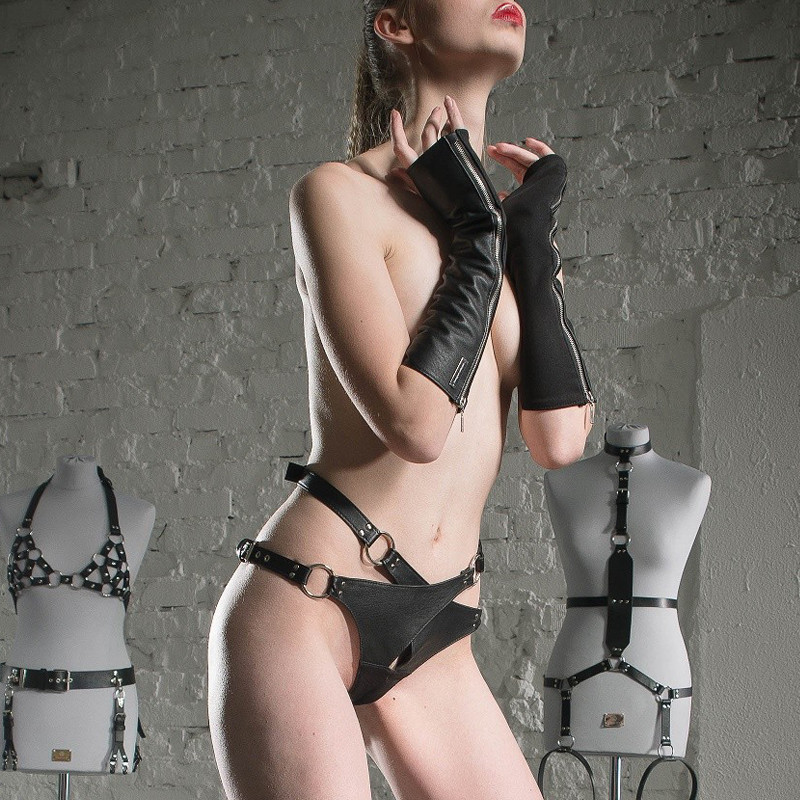 "Leather female harness fetish BDSM ""Crucifed for Her"""