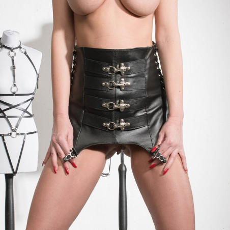 "Leather harness with cuffs BDSM ""Enslaved"""