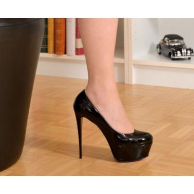 Platform unisex black high heeled pumps 35-47 EU