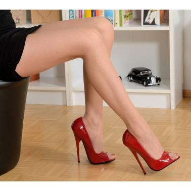 """Czerwone szpilki włoskie """"open toe"""" fetysz 35-46 EU"""