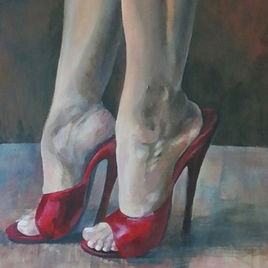 """Foot fetish acrylic paint on canvas """"Lick it"""""""