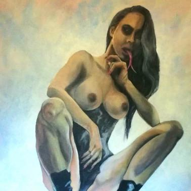 """Fetish acrylic paint on canvas """"Wildsnake"""""""
