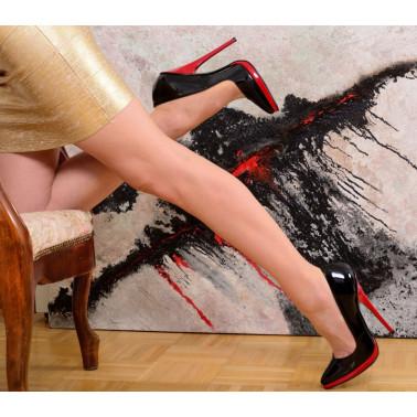 Piękne czerwono czarne włoskie czółenka fetysz 35-46 EU