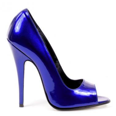 Włoskie niebieskie metalizowane szpilki unisex...