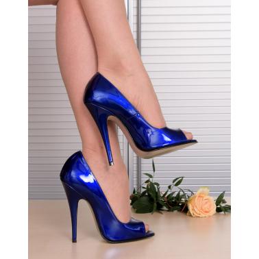Open toe fetish unisex blue metallic pumps 35-46 EU